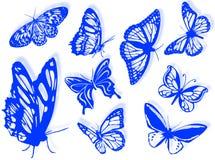 Silhuetas da borboleta Fotos de Stock Royalty Free