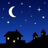 Silhuetas da casa com céu estrelado ilustração stock