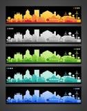 Silhuetas da cidade pequena e da vila multicolored Foto de Stock