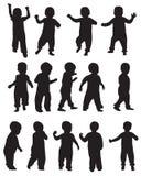 Silhuetas da criança Imagens de Stock