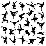 Silhuetas da dança de ruptura Imagem de Stock