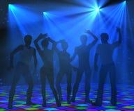 Silhuetas da dança do disco Fotografia de Stock Royalty Free