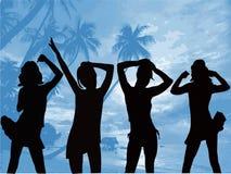 Silhuetas da dança - ilustração do vetor Fotos de Stock Royalty Free