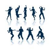 Silhuetas da dança Fotografia de Stock Royalty Free