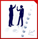 Silhuetas da equipe do negócio no fundo incorporado Fotografia de Stock