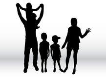Silhuetas da família Foto de Stock Royalty Free