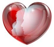 Silhuetas da família do coração Foto de Stock