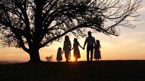 Silhuetas da família feliz que andam no prado perto de uma árvore grande durante o por do sol imagens de stock