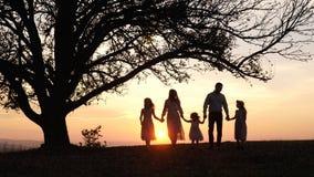 Silhuetas da família feliz que andam no prado perto de uma árvore grande durante o por do sol fotos de stock royalty free