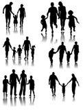 Silhuetas da família. Vetor Imagem de Stock Royalty Free