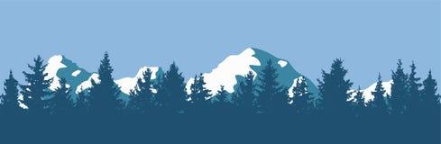 Silhuetas da floresta e da montanha do pinho do vetor Foto de Stock Royalty Free