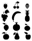 Silhuetas da fruta Imagem de Stock Royalty Free