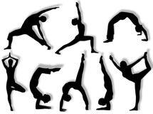 Silhuetas da ioga Fotografia de Stock