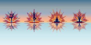 Silhuetas da ioga - reflexão Fotografia de Stock
