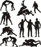 Silhuetas da luta romana Imagens de Stock