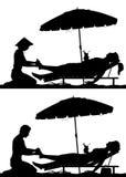Silhuetas da massagem do pé das férias Imagem de Stock