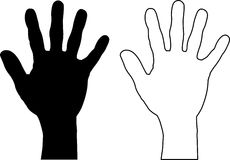 Silhuetas da mão Fotos de Stock