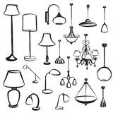 Silhuetas da mobília da lâmpada ajustadas Coleção do projeto da luz de teto Imagem de Stock