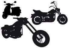Silhuetas da motocicleta,   Imagem de Stock