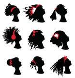 Silhuetas da mulher com cortes de cabelo diferentes imagens de stock royalty free
