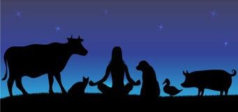 Silhuetas da mulher com muitos animais na noite Fotos de Stock Royalty Free