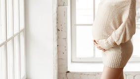 Silhuetas da mulher gravida da silhueta da cor Imagem de Stock