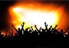 Silhuetas da multidão do concerto Fotografia de Stock