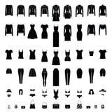 Silhuetas da roupa das mulheres ajustadas isoladas no branco ilustração stock
