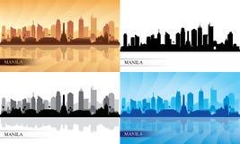 Silhuetas da skyline da cidade de Manila ajustadas Fotografia de Stock