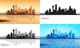 Silhuetas da skyline da cidade de Dallas ajustadas Fotografia de Stock
