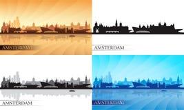 Silhuetas da skyline de Amsterdão ajustadas Fotos de Stock