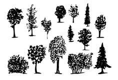 Silhuetas das árvores coníferas desenhados à mão ilustração royalty free