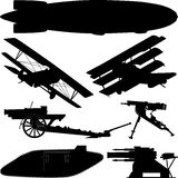 Silhuetas das armas da Primeira Guerra Mundial (grande guerra) Foto de Stock
