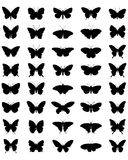 Silhuetas das borboletas Imagens de Stock