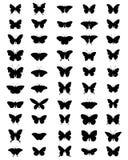 Silhuetas das borboletas Foto de Stock