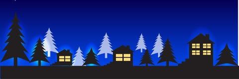 Silhuetas das casas contra o céu Ilustração panorâmico ilustração stock
