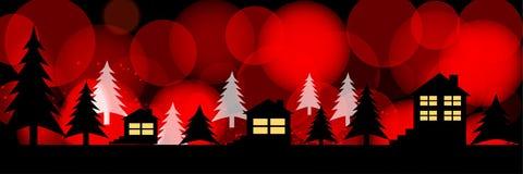 Silhuetas das casas em um fundo festivo brilhante Ilustração panorâmico ilustração stock