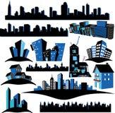 Silhuetas das cidades Fotografia de Stock