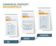 Silhuetas das construções na aba do Livro Branco, imóveis comerciais Infographics Ilustração do vetor Fotos de Stock Royalty Free