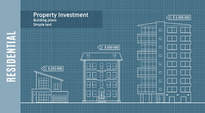 Silhuetas das construções no papel de desenho, Real Estate residencial Infographics Ilustração do vetor Foto de Stock