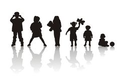 Silhuetas das crianças Imagem de Stock