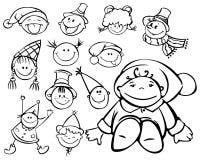 Silhuetas das faces do miúdo para o projeto do Natal Fotografia de Stock