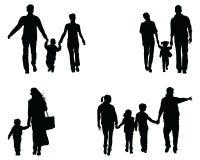 Silhuetas das famílias ilustração do vetor