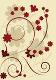 Silhuetas das flores e das folhas Ilustração Stock