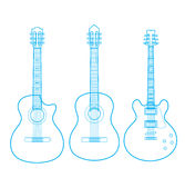 Silhuetas das guitarra clássicas isoladas no branco, Foto de Stock