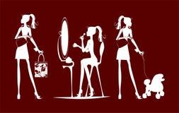 Silhuetas das meninas do estilo de vida ilustração stock