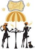 Silhuetas das meninas, ilustração de duas jovens mulheres que bebem o coff Fotos de Stock