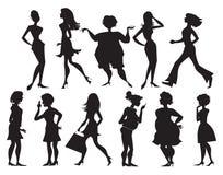 Silhuetas das mulheres ilustração stock