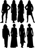 Silhuetas das mulheres fotografia de stock royalty free