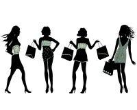 Silhuetas das mulheres da compra ilustração do vetor